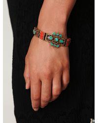Free People Pink Coral Moon Shield Bracelet