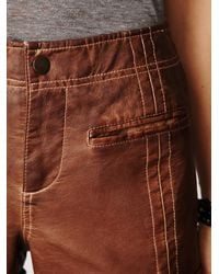 Free People - Brown Washed Vegan Leather Short - Lyst
