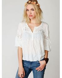 Free People - White Long Sleeve Crinkle and Lace Top - Lyst