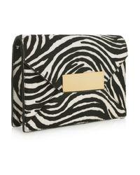 Michael Kors | Multicolor Quinn Zebra-Print Calf Hair Clutch | Lyst