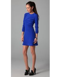 Tibi | Blue Long Sleeve Dress with Cutout Back | Lyst
