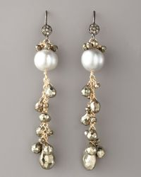Wendy Brigode - Metallic Diamond & Pearl Drop Earrings - Lyst