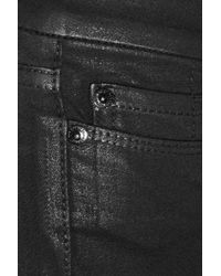 7 For All Mankind - Black Roxanne Waxed-denim Jeans - Lyst