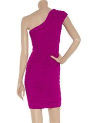 Badgley Mischka Pink One-shoulder Ruched Cocktail Dress