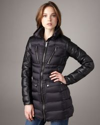 Burberry Brit - Black Leather-sleeve Puffer Coat - Lyst