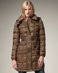 Burberry Brit | Brown Leather-detail Puffer Coat | Lyst