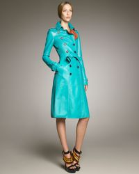 Burberry Prorsum | Blue Bonded Leather Trenchcoat, Malachite | Lyst
