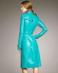 Burberry Prorsum - Blue Bonded Leather Trenchcoat, Malachite - Lyst