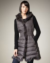 Dawn Levy | Gray Jemma Fur-trim Vest | Lyst