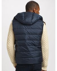 Gant Rugger - Blue Down-filled Hooded Gilet for Men - Lyst