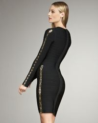 Hervé Léger - Black Chain-detail Bandage Dress - Lyst
