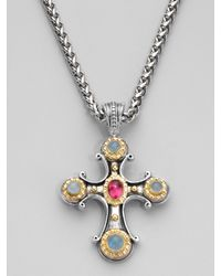 Konstantino | Metallic Five Stone Traditional Cross Pendant Necklace | Lyst