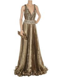 Marchesa - Embellished Metallic Organza Gown - Lyst