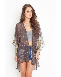Nasty Gal - Gray Rhiannon Kimono Jacket - Lyst