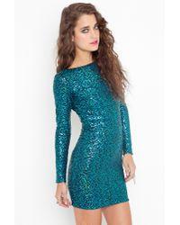 nasty gal nikki sequin dress  turquoise in blue  lyst