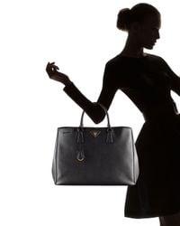 Prada | Black Saffiano Lux Snap Tote | Lyst