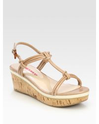 Prada | Natural Wedge Sandals | Lyst