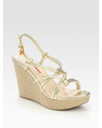 Prada | Metallic Wedge Sandals | Lyst
