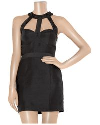 Rachel Gilbert Black Candice Cutout Raw-silk Dress