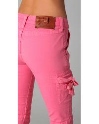 RED Valentino - Pink Skinny Cargo Pants - Lyst
