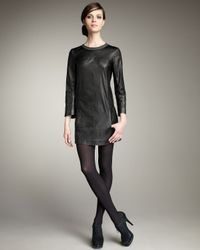 Theory | Black Crinkled Leather Dress | Lyst