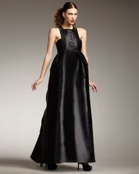 Theyskens' Theory | Black Button-front Matte-satin Gown | Lyst