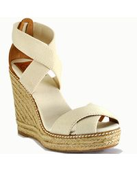 Tory Burch | Natural Adonis - Ivory Canvas Espadrille Wedge Sandal | Lyst