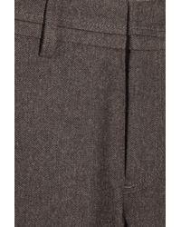 Vince Brown Wool-flannel Herringbone Shorts