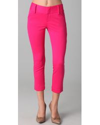 Alice + Olivia - Pink Cropped Andrew Skinny Pants - Lyst