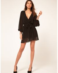 ASOS Collection Black Wrap Dress with Sequin Cuff
