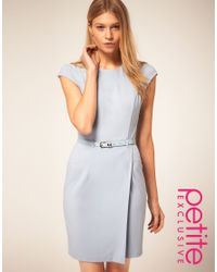 ASOS Collection Blue Asos Petite Exclusive Wrap Dress with Belt