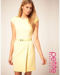 ASOS Collection Yellow Asos Petite Exclusive Wrap Dress with Belt