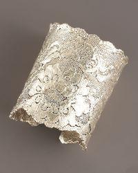 Aurelie Bidermann - Metallic Silver-plated Lace Cuff - Lyst