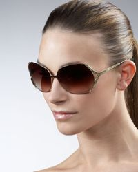 Barton Perreira | Brown Emmanuelle 66 Snake-print Arm Sunglasses | Lyst