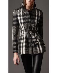Burberry | Gray Short Quilted Check Jacket | Lyst