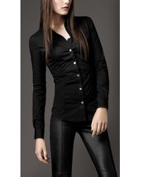 Burberry Black Fitted Button Down Shirt