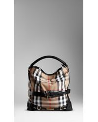 Burberry | Black Medium Check Belted Hobo | Lyst