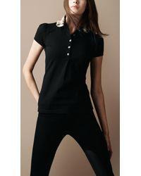 Burberry Brit | Black Check Collar Polo Shirt | Lyst