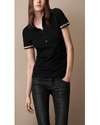Burberry Brit | Black Ruched Check Cuff Polo Shirt | Lyst