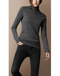 Burberry Brit | Gray Merino Wool Knit Turtle Neck | Lyst