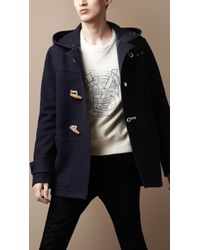 Burberry Brit | Blue Hooded Wool Duffle Coat for Men | Lyst