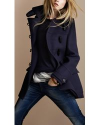 Burberry Brit | Blue Regimental Wool Duffle Coat | Lyst