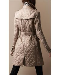 Burberry Brit - Natural Quilted Trench Coat - Lyst