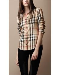 Burberry Brit | Natural Pointed Collar Check Shirt | Lyst
