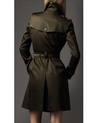 Burberry Green Suede Trim Trench Coat