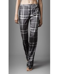 Burberry | Gray Satin Check Pyjama Trousers | Lyst