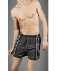 Burberry | Gray Woven Cotton Check Boxer Shorts for Men | Lyst