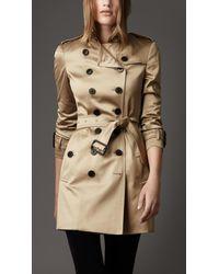 Burberry Metallic Cotton Sateen Trench Coat
