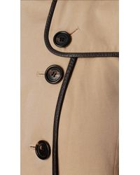 Burberry Natural Leather Detail Trench Coat