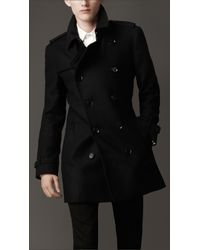 Burberry | Blue Textured Wool Trench Coat for Men | Lyst